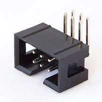 IDC Male connector (shrouded header), 6 pin, right angle leads