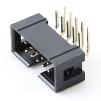 IDC Male connector (shrouded header), 10 pin, right angle leads