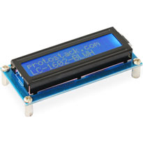 16 x 2 character LCD module with blue backlight and white text