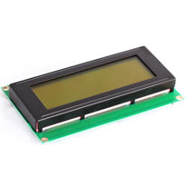 20 x 4 character LCD module with yellow/green backlight